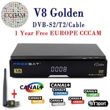 V8 Золотой спутниковый ресивер DVB-T2 DVB-S2 полный 1080 P HD с 1 год CCcam Клайн Европа ccam сервер + 1 шт. USB Wi-Fi комплект бесплатная доставка