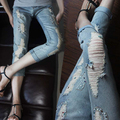 2016 spring summer Brand beading pearl diamond ripped hole pencil pants jeans for women