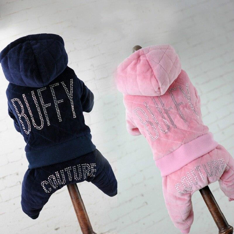 Nieuwe Huisdier Katoenen Jas Plus Fluwelen Hot-fix Rhinestone Hondenkleding Voor Kleine Honden Vier Benen Broek Winter Hond Jas Kleding Kostuum Gemakkelijk Te Repareren
