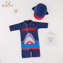 66add39cfea01 Nyan Cat summer baby boy blue shark swimwear+hat 2pcs set swimming suit  infant toddler
