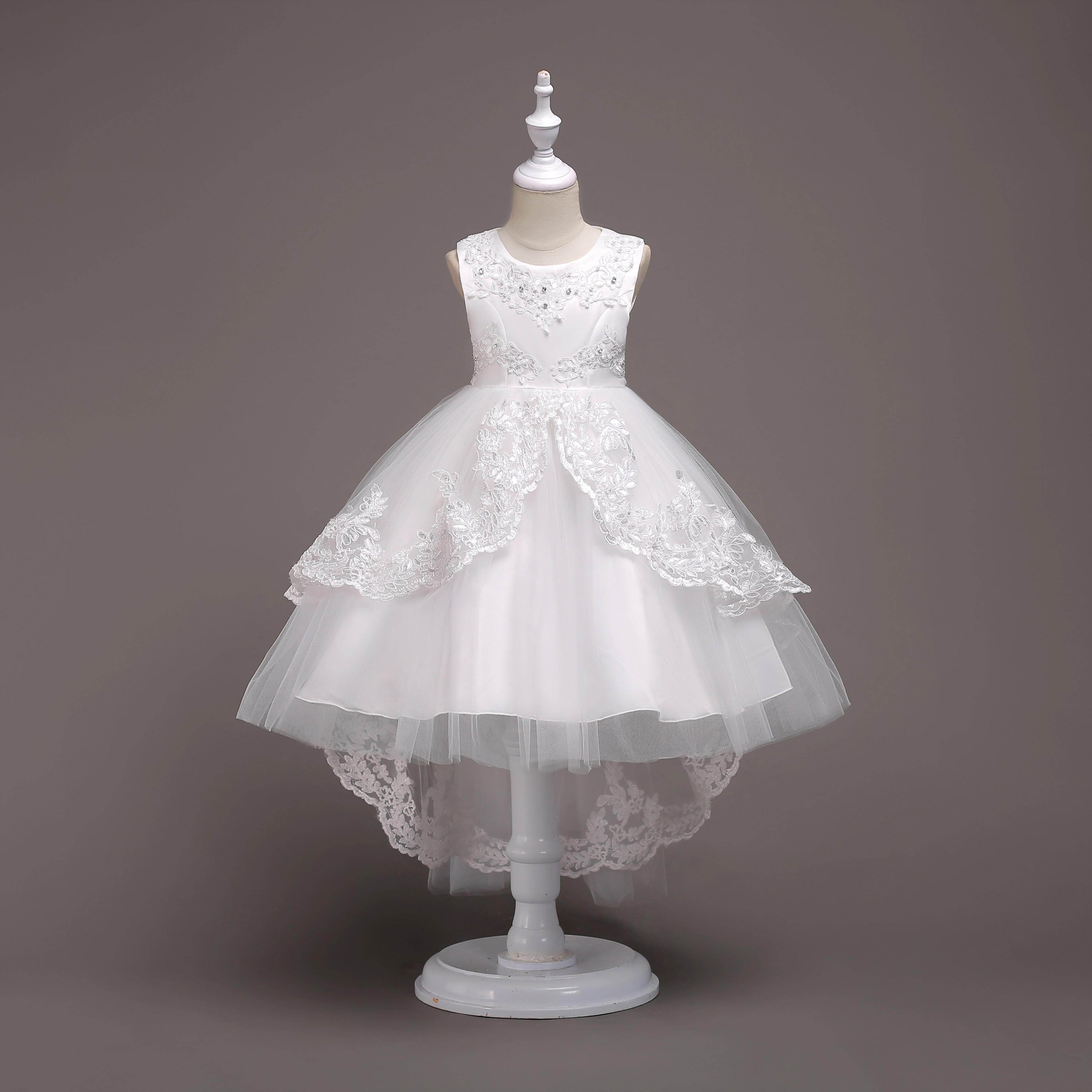 Girl High Low Lace Appliques Communion Dresses Flower Wedding Party Princess Dress
