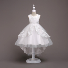 Girl High Low Lace Appliques Communion Dresses Flower Wedding Party Princess Dress