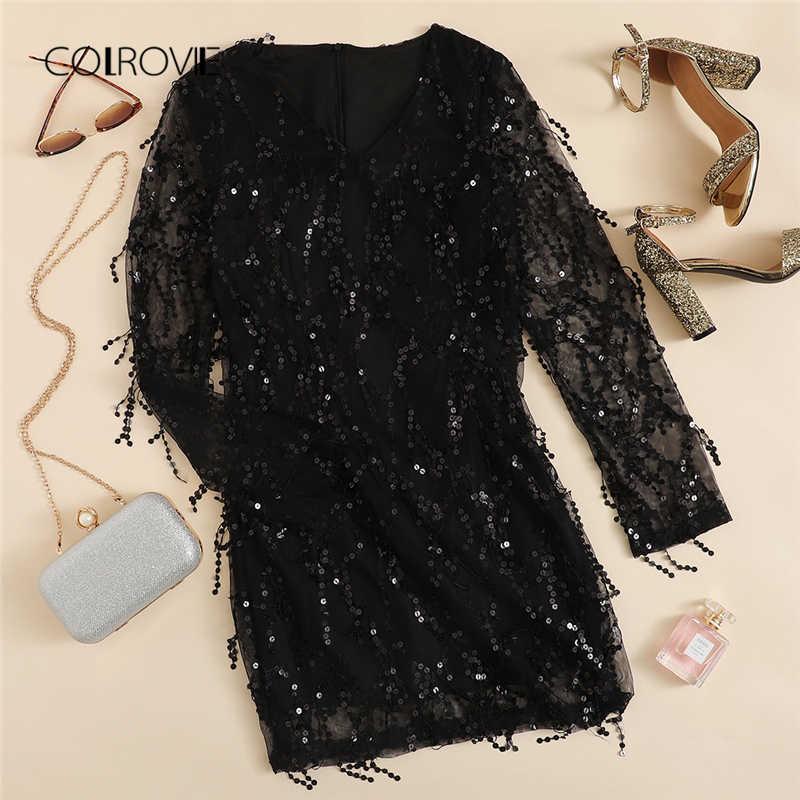 3514c8111d02 ... COLROVIE Black Sheer Mesh Fringe Overlay Sequin Party Dress Women  Spring V Neck Tassel Bodycon Sexy ...