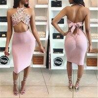 BKLD 2017 Rose Gold Sequin Bandage Women Sets 2 Piece Skirt Suits Crop Tops Skirt Sexy