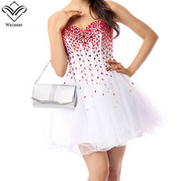 Wechery Tutu Dress Summer White & Red Mini Vestido Short Prom Party Vestidos Women Sweet Beading Dresses Chiffon Summer Dress