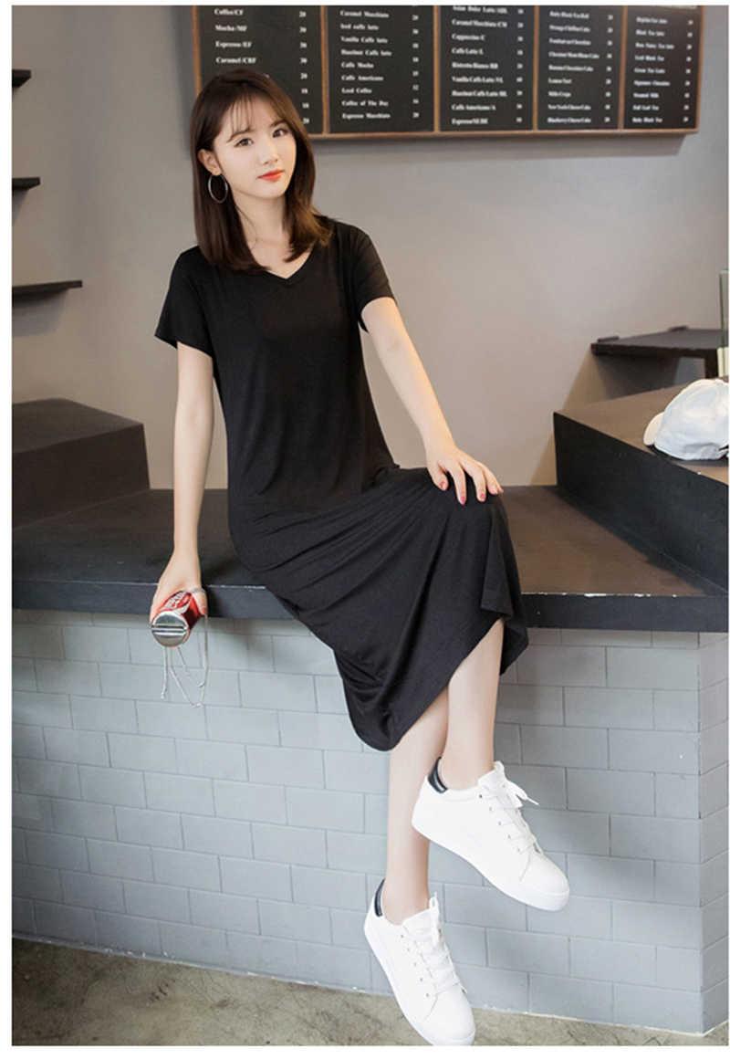 7ba37a4dec Casual Summer women dress short Sleeve v-neck solid cotton T shirt dresses  loose maxi tee shirt dress plus size
