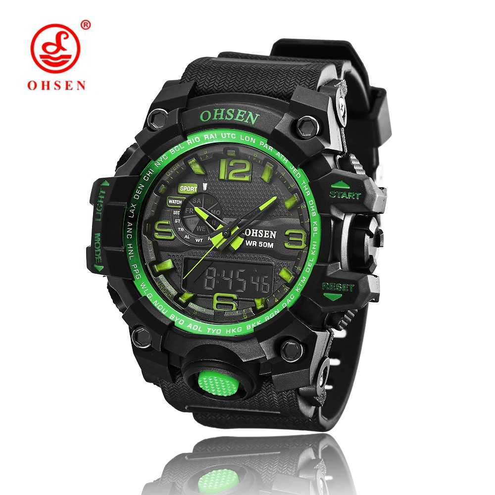 New OHSEN Fashion Quartz Men  Male Sport Wristwatch Gold Rubber Strap LED 50M Diving Boys Watches Relogio Feminino Clock Gift