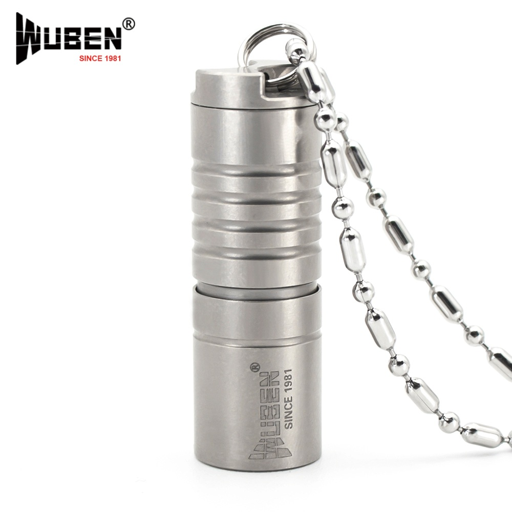 Mini LED Flashlight Original Wuben Titanium Metal 130LM Flashlight LED Lamp with Necklace Portable Design Multipurpose + Battery
