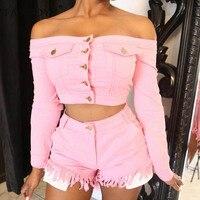Fantoye Two Piece Set Tasse Jean Crop Top Shorts Sexy Off Shoulder Pockets Button Tracksuit Long Sleeve Casual Women Denim Suit