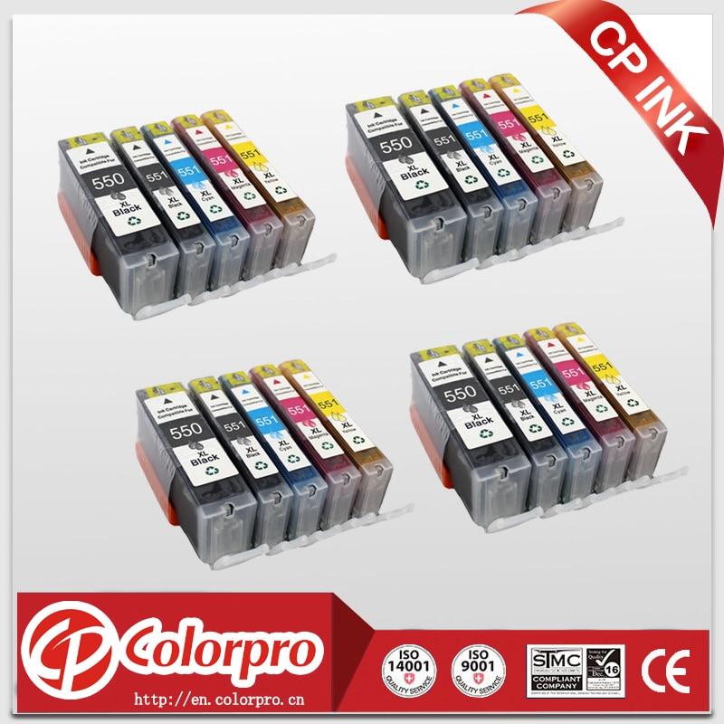 20PK 4 (PBK + BK + C + M + Y) Совместимые чернила PGI550 CLI551 для canon PIXMA IP7250 MG5450 MX925 MG5550 IX6850 MX725 MG5650 MG6650 MG6350