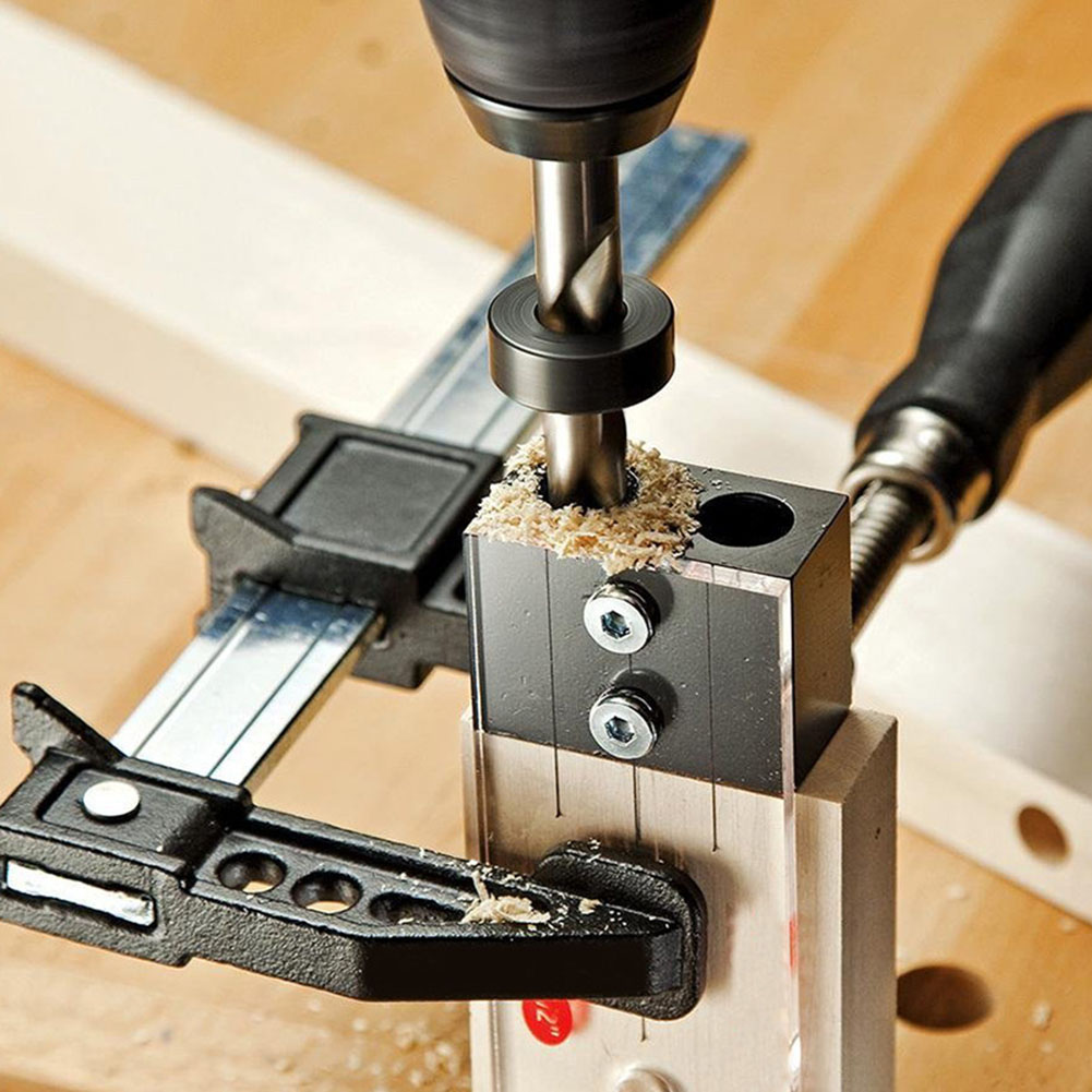 """High Hardness Woodworking Tool For DIY Carpentry Tools 1/4"""" Dowel Drilling Jig Kit Wood Drilling Guide Hole LocatorDrill Bits   -"""