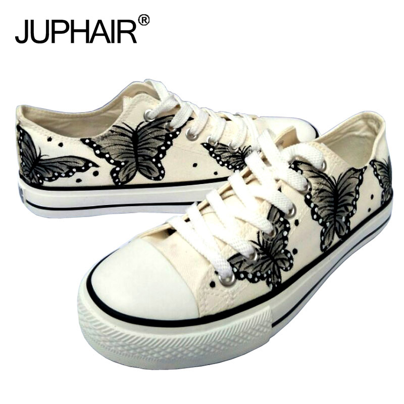JUP Womens Children Girls Watermelon Spongebob Despicable Me Minion Cats Butterflys Flag Pattern Skull Hand Painted Canvas Shoes 2016 new cartoon anime figure despicable me 2 minion shoes couples hand painted canvas shoes women men casual shoes big size 10