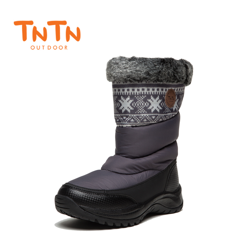 TNTN 2017 Winter Outdoor Boots Feathers Waterproof Hiking Boots Womens Fleece shoes Snow Womens Shoes Warm yin qi shi man winter outdoor shoes hiking camping trip high top hiking boots cow leather durable female plush warm outdoor boot