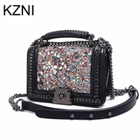 KZNI Leather Rivet Crossbody Bag With Chain Luxury Crystals 2017 Women Evening Bags Designer Purses And