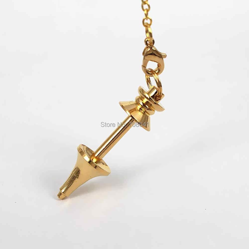 Kosong Sekrup Pendulum Pendant dengan Link Rantai DIY Temuan untuk Penyembuhan Dowsing Reiki Batu Kaca Liontin Pendulum Pendant Membuat