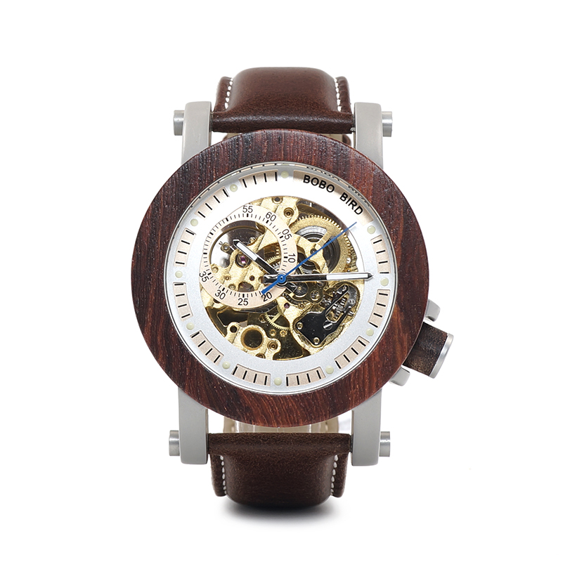 BOBO BIRD L-K12 Mechanical Watch Vintage Red Sandalwood Watch Luxury Men's Fashion Real Leather Strap Casual Montre Homme блуза александра kristina блуза александра