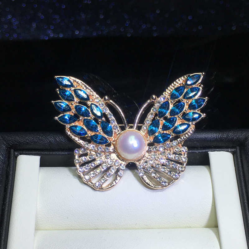ZHBORUINI High Quality Natural Freshwater Pearl Brooch Blue Butterfly Brooch Gold Color Pearl Jewelry For Women Accessories