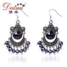 Daimi 5-6mm Pendientes de Perlas de Agua Dulce Negro y Pendientes de Ágata de La Vendimia Precio Al Por Mayor