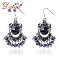 Daimi 5-6mm Black Pearl Earrings Freshwater & Agate Vintage Earrings Wholesale Price Boho Jewelry