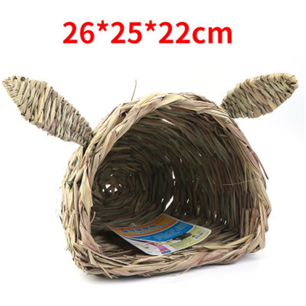 Rabbit Shaped Head Straw Nest Natural Rabbit House Totoro Dutch Pig Hamster Hedgehog Nest House Straw Mat Pet House