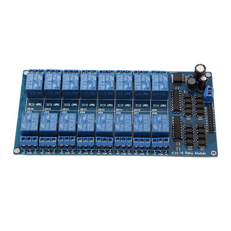 New 16-Channel 5V12V Relay Module Board For Arduino PIC AVR MCU DSP ARM PLC pcb board 1 channel plc relay module slotted optical switch sensor for arduino