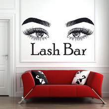 Lash Bar Pretty Eyebrows And Eyes Beauty Salon Wall Stickers for Living Room Background Art Decoration Vinyl Murals TA631(China)