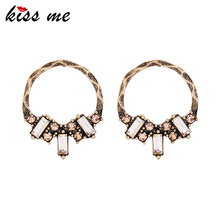 KISS ME Antique Gold & Silver Color Big Vintage Earrings Popular Round Rhinestone Stud Earrings Women Jewelry