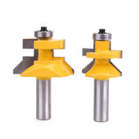 2Pcs Carbide 45 Degree Router Bit 1 2 28 6MM Matched Tongue Groove V Notc Handle