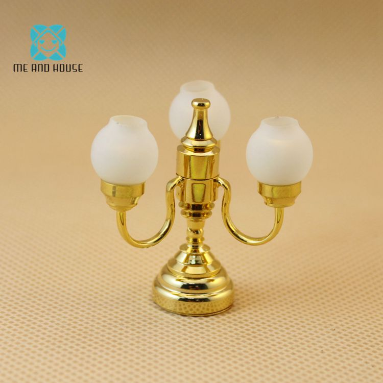 1:12 Doll House battery-operated powered triple tulip led ceiling lamp