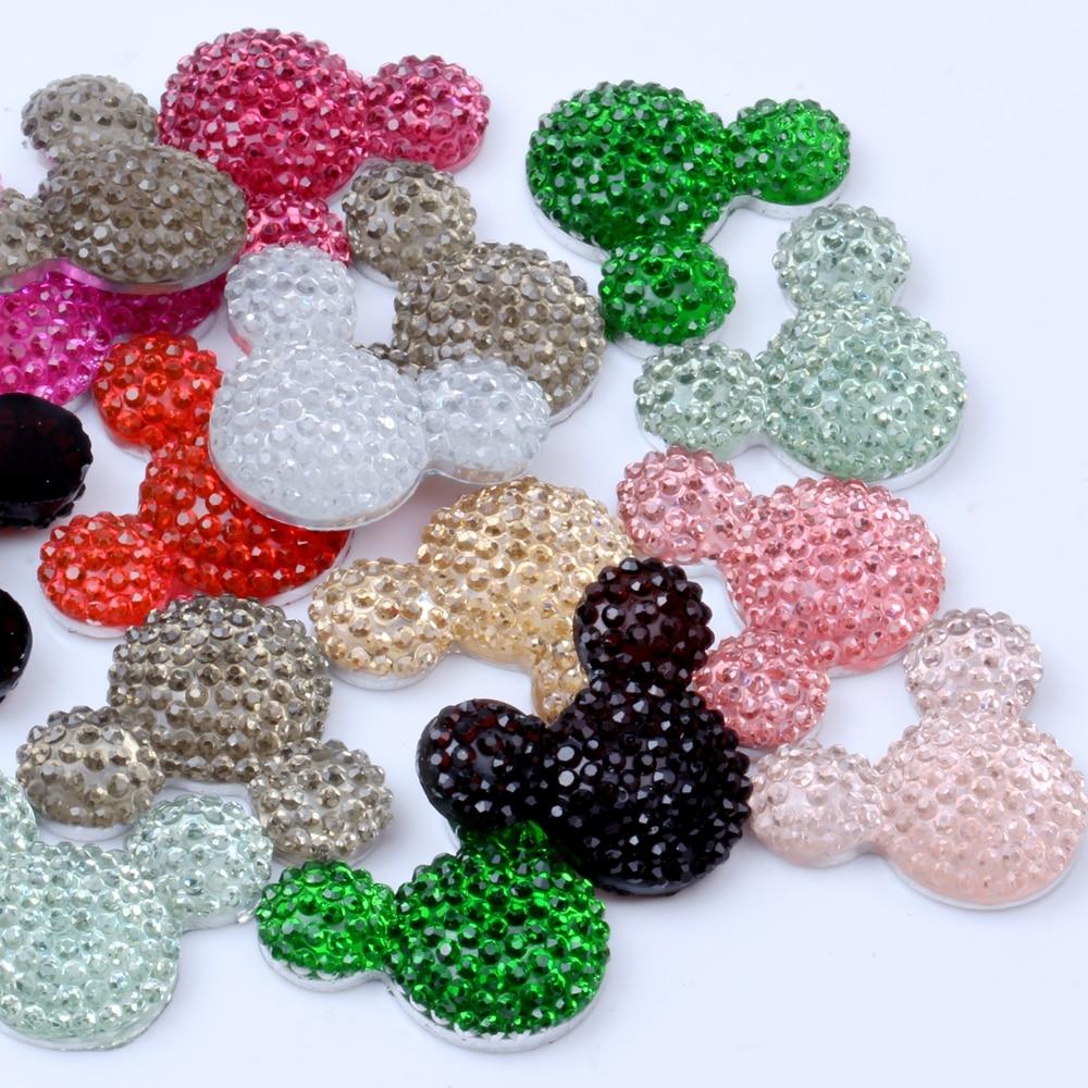 NEW! 20Pcs/bag 20x23mm Flatback Resin Mickey Head Design Rhinestone Beads Cabochon Gems Glue On DIY Jewelry Garments Deco