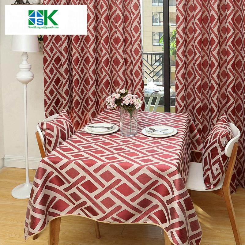 2016 Summer New Jacquard Red Table Cloths For Dining Room Cotton Tea Elegant Tablecloth Overlay Factory