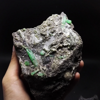 1240g NATURAL Stones and Minerals Rock Emerald green symbiosis with quartz crystal gem stone ore sample collection ZML0 09