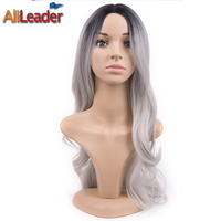AliLeader Haar Produkte 26 Zoll Lange Grau Ombre Haar Perücke Körperwelle, Hitzebeständige Synthetische Haar Damen Perücken Lange Cosplay Perücke