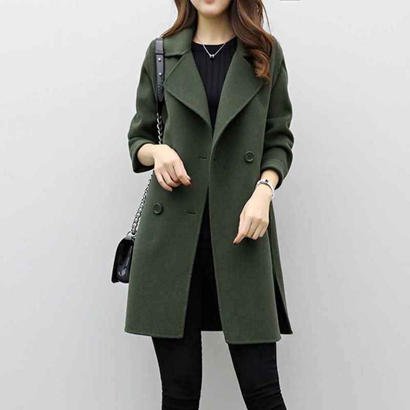 Women Autumn Elegant Lapel Long Sleeve Woolen Trench Coat Turn Down Collar Slim Double Breasted Trench Coats OL Female Overcoat