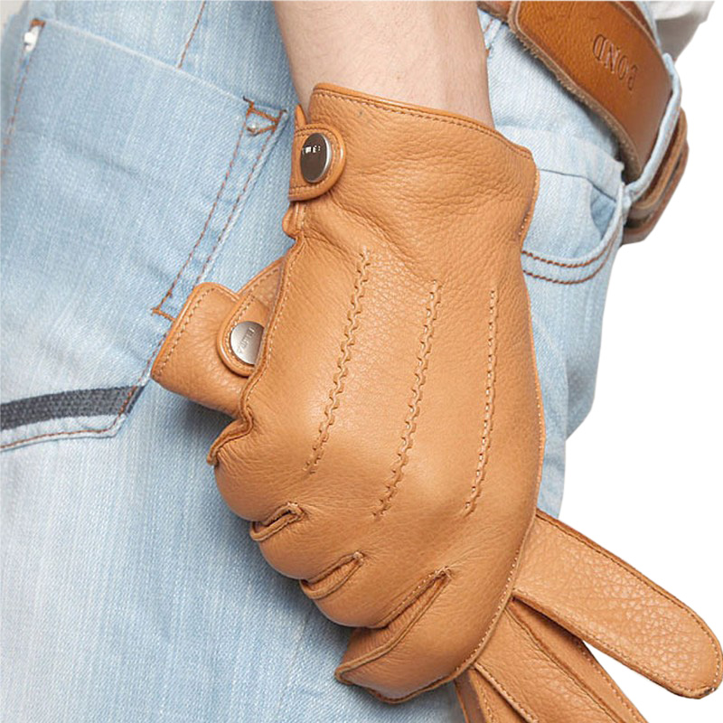 High Quality Men Deerskin Gloves Full Finger Geuine Leather Driving Gloves Autumn Winter Warm Cashmere Knitted