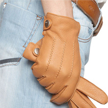 2014 fashion Men leather gloves Luxury deerskin warmth winter Genuine wrist driving EM012WR