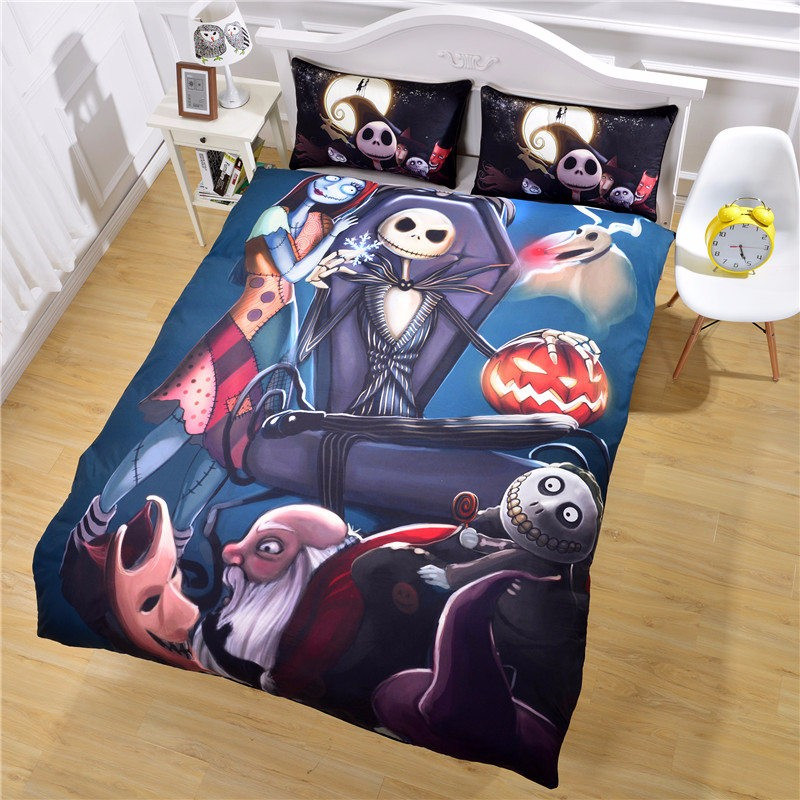Black Color Nightmare Before Christmas Bedding Sets Duvet Cover Queen Size 3D Bedspreads <font><b>Bed</b></font> Covers Twin Full King