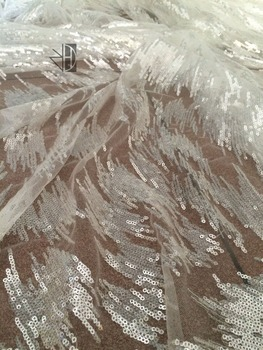 special embroidered lace fabric z-han7205 with sequins african french net lace fabric for wedding dress