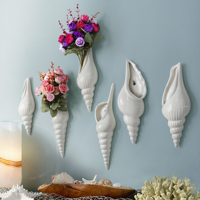 ceramic creative conch flowers vase pot home decor crafts room wall