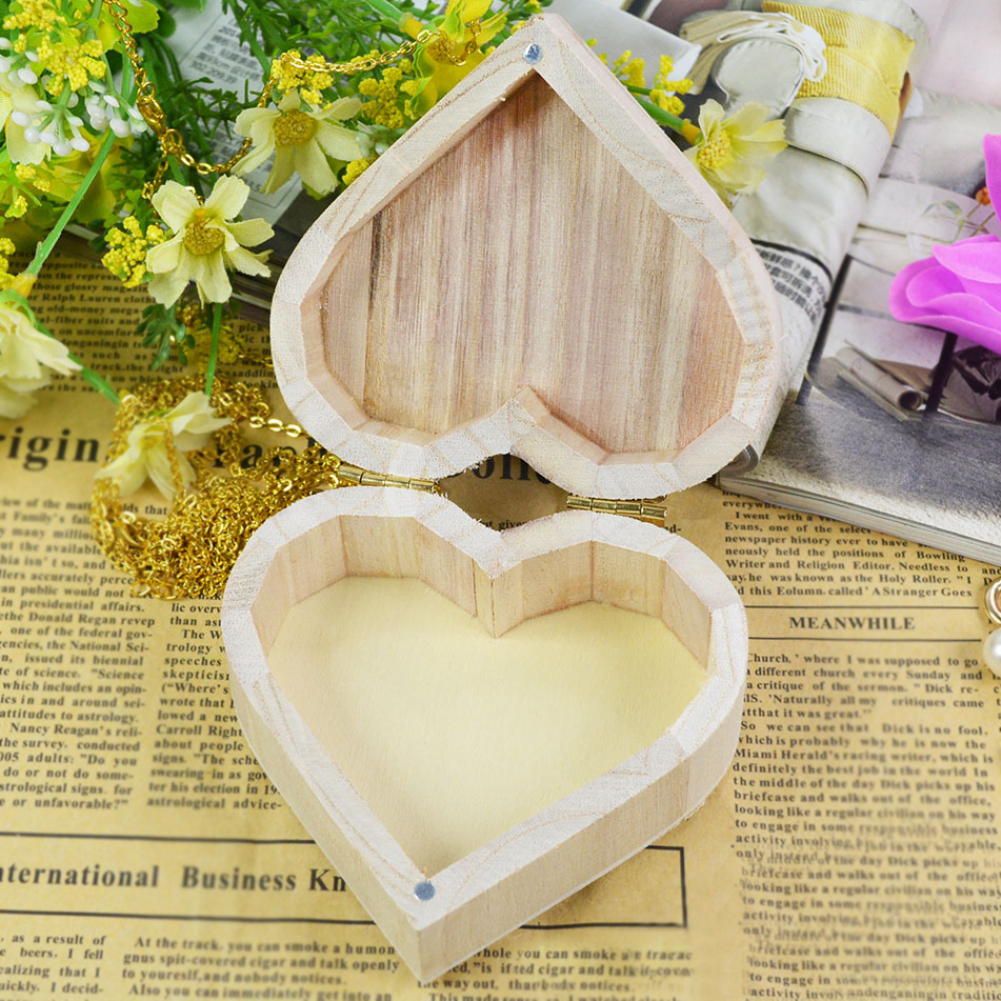 US $2 21 |Love Heart Shaped Earrings Necklace Ring Wooden Storage Box Retro  Jewelry Box -in Jewelry Packaging & Display from Jewelry & Accessories on