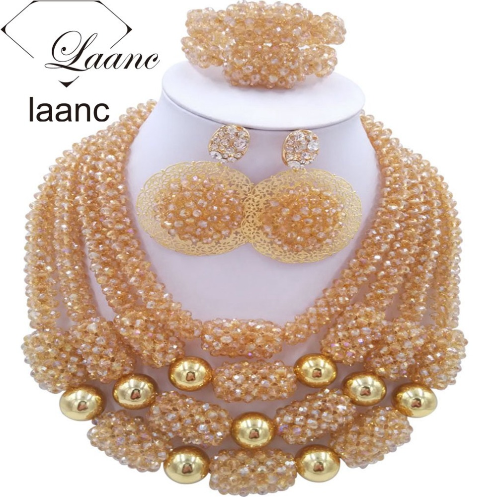 Nigérian Costume bijoux or ensembles ab cristal perlé africain collier boucles d'oreilles Bracelet laanc AL030