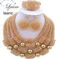 Nigeriano Joyería de Fantasía de Oro Establece ab Cristal Collar Pendientes Pulsera De Perlas Africanas laanc AL030
