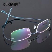 dfe6655e5 Sem Aro de Titânio memória Óculos de Armação Mulheres Homens Leve Flexível  Vidros Ópticos Enquadrar Oculos de grau Óculos s129