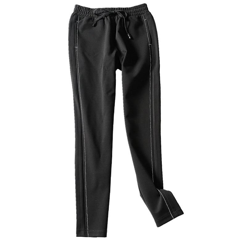 Mediados Casual Y Otoño Elástico Mujeres Sólido Samgpilee Tobillo longitud Black 2018 33 Pantalones Nuevo Moda Invierno El Cintura Lápiz Plisados 27 qzE5ppOwf