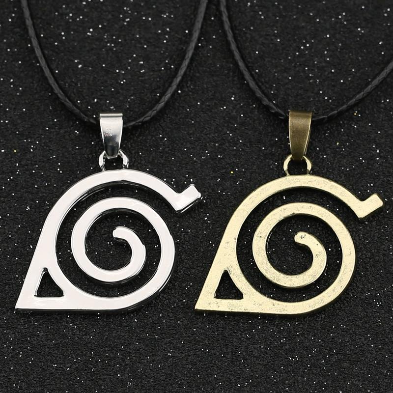 Ожерелье с листьями Konoha, деревня симбал, Знак логотипа ниндзя, Саске, бронзовый, серебряный цвет, кулон, винтажные аниме ювелирные изделия, к...