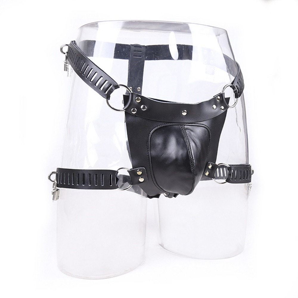 Male Cock Penis Cage Leather Chastity Bondage Slave Restraint Belt Lockable In Adult Games , Fetish Erotic Sex Toys For Men 2016 adult male max security steel trap locking male chastity belt with cock cage and large crotch panel cbt slave restraint sex