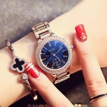 GUOU Moda de Lujo Pulsera de Las Mujeres Relojes de Oro Rosa Reloj de Señoras Reloj Reloj De Cristal Azul Brillante Diamante relogio feminino saat