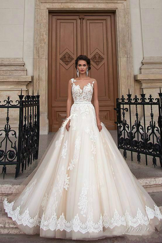 Amazing Stunning 2016 Milla Nova Sheer Castle Wedding Dresses Ball Illusion  Appliques Lace Chapel Train Bridal Gown For Western Style In Wedding Dresses  From ...