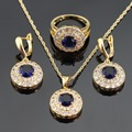 Round Blue Imitated Sapphire White CZ  Gold Plated Christmas Jewelry Sets For Women Necklace Pendant Rings Drop Earrings