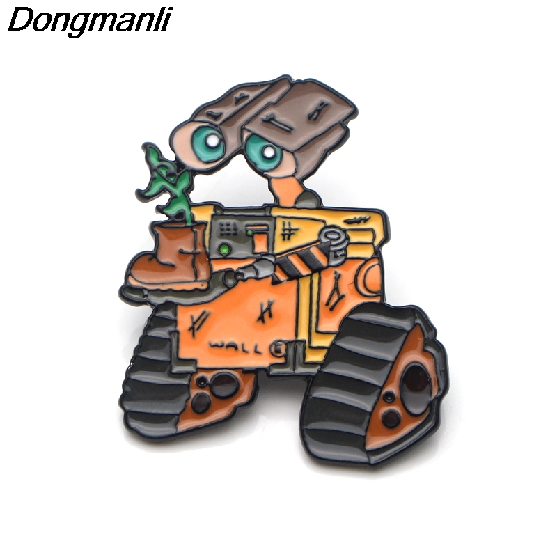 P3701 Wholesale 20pcs lot Funny Robot WALL E Metal Enamel Pins and Brooches for Lapel Pin